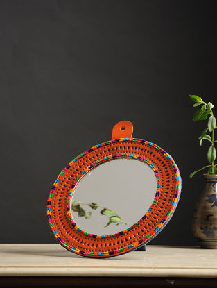 Aaina Gol Orange-Multicolored Handmade Leather Mirror
