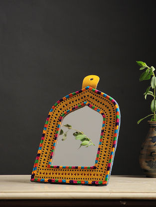 Aaina Jharokha Yellow-Multicolored Handmade Leather Mirror