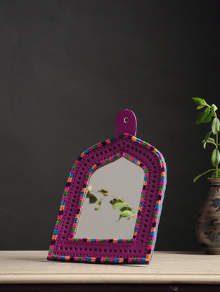 Aaina Jharokha Pink-Multicolored Handmade Leather Mirror