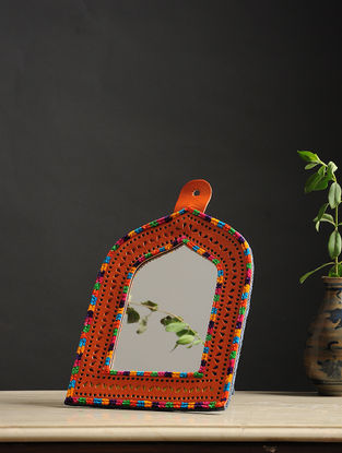 Aaina Jharokha Orange-Multicolored Handmade Leather Mirror
