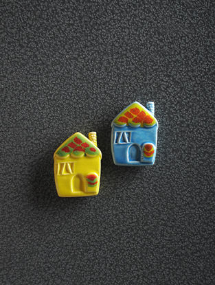 Yellow-Blue Hand Crafted Ceramic Magnets (Set of 2) (1.6in x 1.2in)