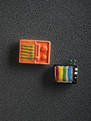Orange Hand Crafted Ceramic Magnets (Set of 2)
