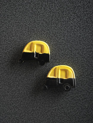Yellow-Black Hand Crafted Ceramic Magnets (Set of 2) (1.6in x 1.2in)