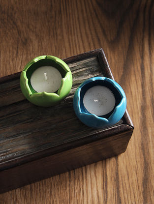 Blue-Green Hand Crafted Ceramic T Light Holders (Set of 2) (L:2.2in, W:2in, H:1.3in)