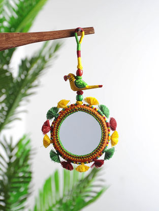 Multicolored Hand-knotted Thread and Glass Hanging Mirror with Parrot Design (9in x 4in)