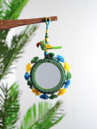 Multicolored Hand-knotted Thread and Glass Hanging Mirror with Parrot Design (9.2in x 4in)