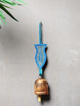 Blue-Golden Handcrafted Leather and Copper Bell by Meghwal of Kutch (14inx 2.3in)