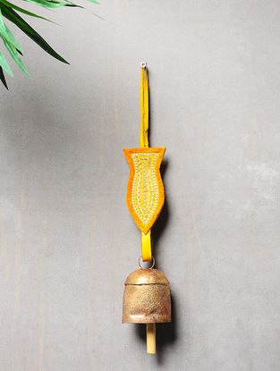 Yellow-Golden Handcrafted Leather and Copper Bell by Meghwal of Kutch (14.5inx 2.3in)