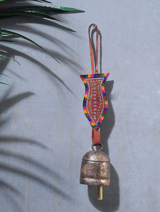 Brown-Multicolored Handcrafted Leather and Copper Bell by Meghwal of Kutch (14.5 x 2.5in)