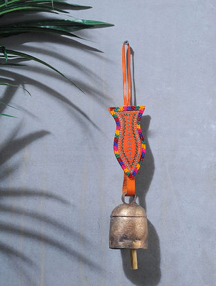 Orange-Multicolored Handcrafted Leather and Copper Bell by Meghwal of Kutch (14 x 2.5in)