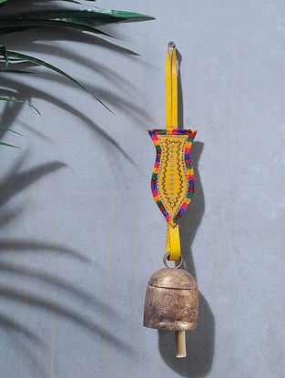Yellow-Multicolored Handcrafted Leather and Copper Bell by Meghwal of Kutch (14 x 2.5in)