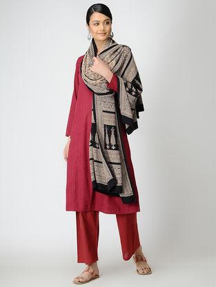 Ivory-Black Bagh-printed Crepe Silk Dupatta
