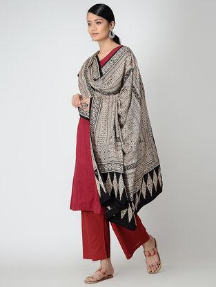 Ivory-Black Bagh-printed Gajji Silk Dupatta