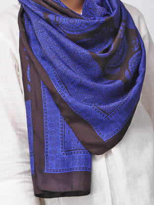 Blue-Black Bagh-printed Silk Stole