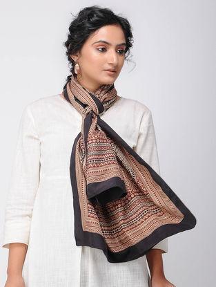 Beige-Black Bagh-printed Silk Stole