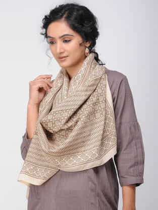 Beige Bagh-printed Silk Stole