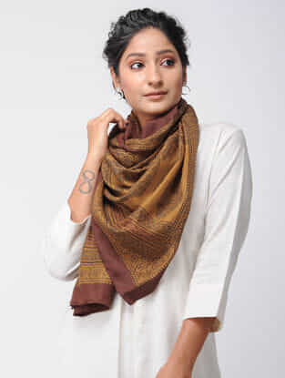 Mustard-Madder Bagh-printed Silk Stole