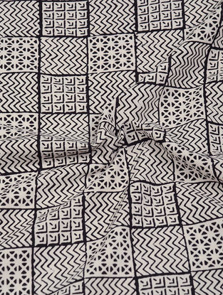 Ivory-Black Natural-Dyed Bagh-printed Cotton Fabric