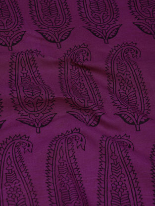 Purple-Black Natural-Dyed Bagh-printed Cotton Fabric