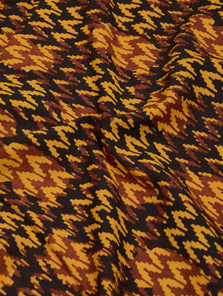 Yellow-Black Natural-Dyed Bagh-printed Cotton Fabric