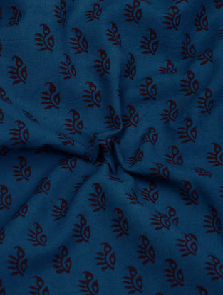 Blue-Madder Natural-Dyed Bagh-printed Cotton Fabric