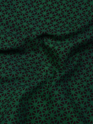 Green-Black Natural-Dyed Bagh-printed Cotton Fabric