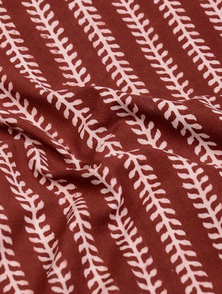 Madder-Ivory Natural-Dyed Bagh-printed Cotton Fabric