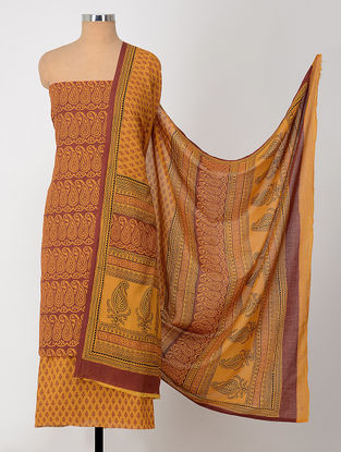 Yellow-Madder Natural-Dyed Bagh-printed Cotton Suit Fabric (Set of 3)