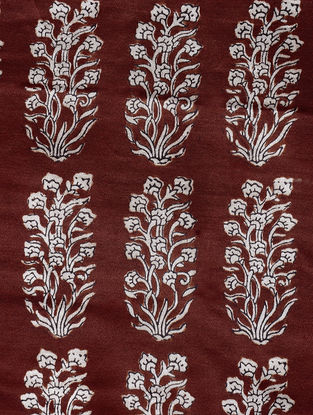 Madder-Ivory Natural-Dyed Bagh-printed Cotton Mashru Fabric