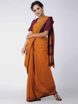 Yellow-Red Bagh-printed Cotton Saree