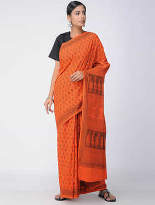 Orange-Red Bagh-printed Cotton Saree