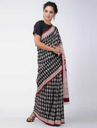 Black-Ivory Bagh-printed Cotton Saree