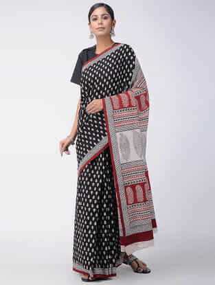 Black-Red Bagh-printed Cotton Saree