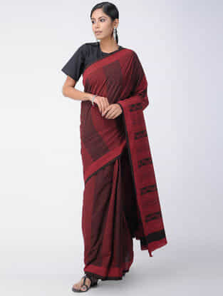 Red-Black Bagh-printed Cotton Saree