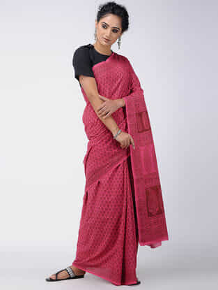 Pink-Red Bagh-printed Cotton Saree