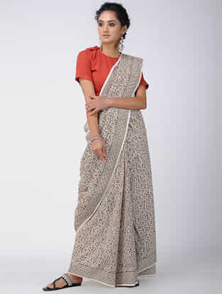 Ivory-Brown Bagh-printed Cotton Saree