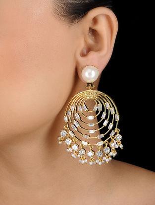 White Gold Tone Crystal Pearl Earrings