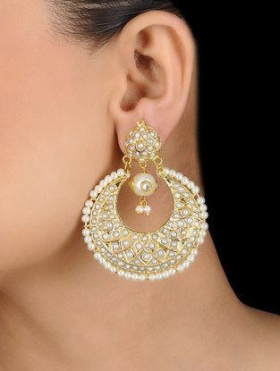 White Gold Tone Jadau Earrings