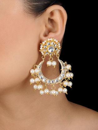 White Gold Tone Kundan Inspired Pearl Earrings