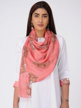 Pink-Brown Printed Silk Scarf with Tassels