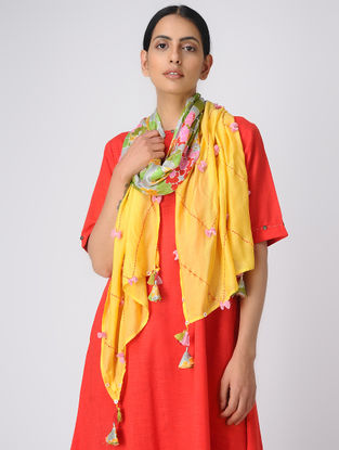 Yellow Printed Silk Scarf