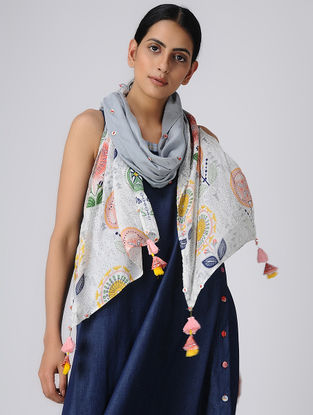 Grey-White Printed Silk Scarf