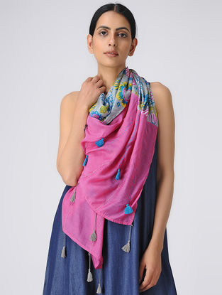 Grey-Pink Printed Silk Scarf