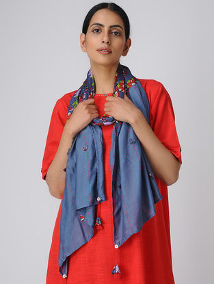Blue Printed Silk Scarf