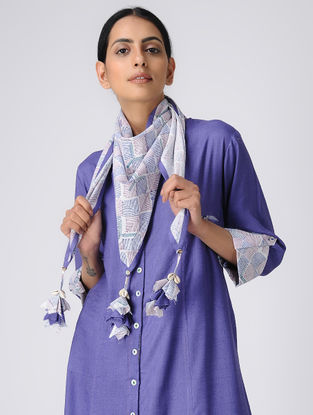 White-Purple Printed Cotton Scarf