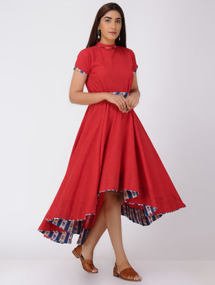 Red Asymmetrical Cotton Slub Dress with Sequin and Beads