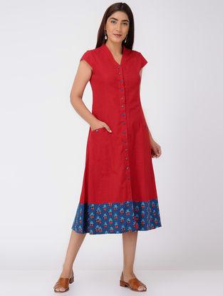 Red-Blue Cotton Slub Dress with Printed Border