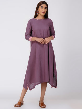 Purple Asymmetrical Cotton Slub Dress with Beads and Tassels