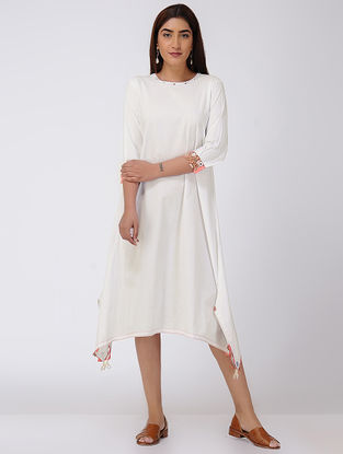 White Asymmetrical Cotton Slub Dress with Beads and Tassels