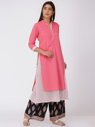 Pink-White Double-layer Cotton Kurta with Tassels and Gota